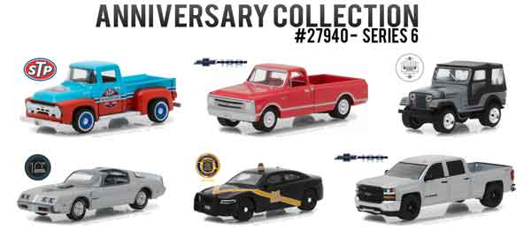 27940-CASE - Greenlight Diecast Anniversary Collection Series 6 Six Piece SET