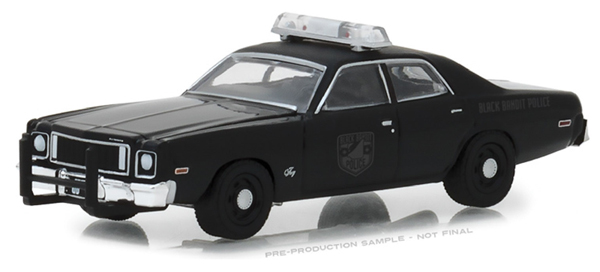 27960-D - Greenlight Diecast Black Bandit Police 1975 Plymouth Fury