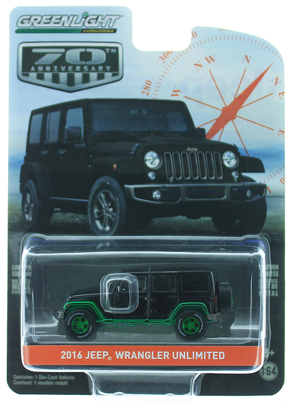 28000-F-SP - Greenlight Diecast 2016 Jeep Wrangler Unlimited 70th Anniversary Edition
