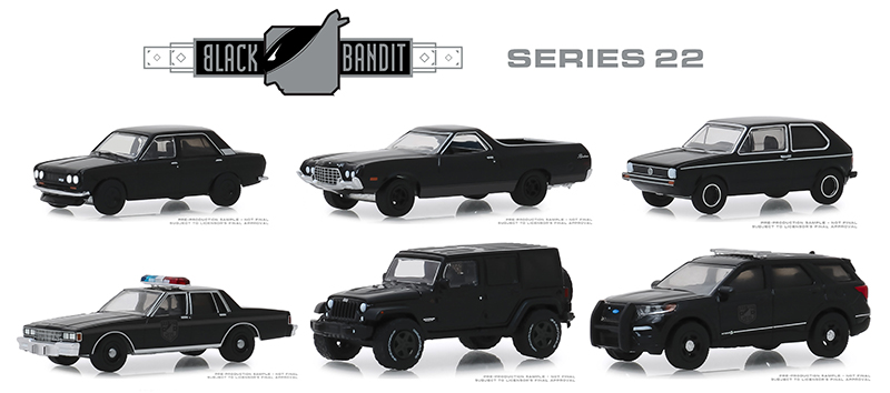 28010-CASE - Greenlight Diecast Black Bandit Series 22 6 Piece Set
