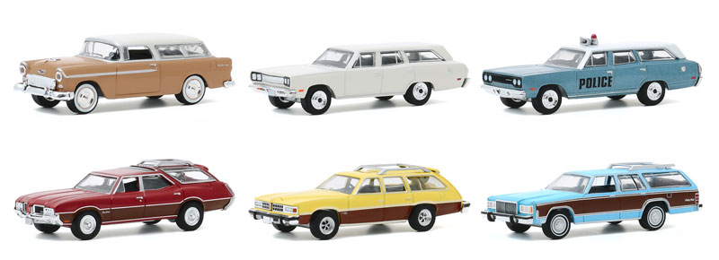 29990-CASE - Greenlight Diecast Estate Wagons Series 5 6 Piece Set