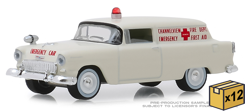 30071-CASE - Greenlight Diecast Channelview Texas Fire Department 1955 Chevrolet Sedan
