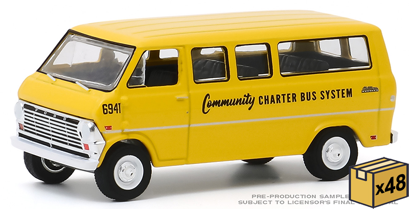 30155-MASTER - Greenlight Diecast 1968 Ford Club Wagon School Bus 48