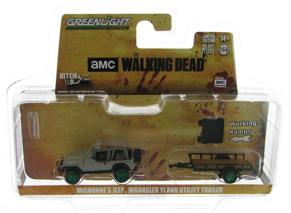 32080-B-SP - Greenlight Diecast Michonnes Jeep Wrangler YJ and Utility Trailer
