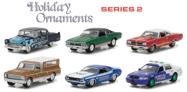 37120-CASE - Greenlight Diecast Holiday Ornaments Series 2 Six Piece SET