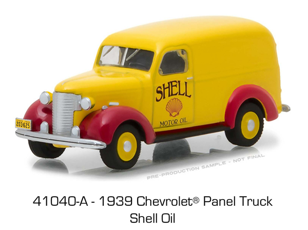 41040-A - Greenlight Diecast Shell Oil 1939 Chevrolet Panel Truck Running