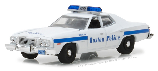 42830-A - Greenlight Diecast Boston Massachusetts Police 1976 Ford Torino Hot