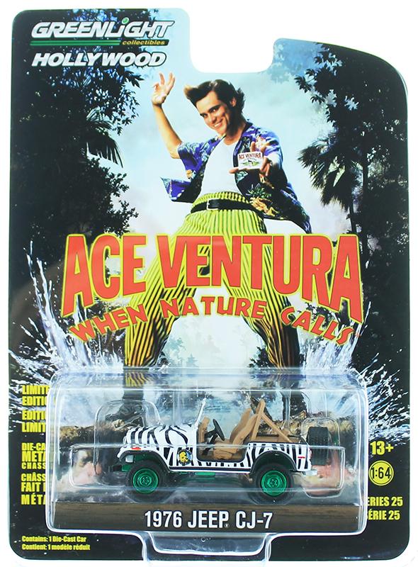 """WHEN NATURE CALLS/"""" GREENLIGHT 44850-A 1:64 1976 JEEP CJ-7 /""""ACE VENTURA"""