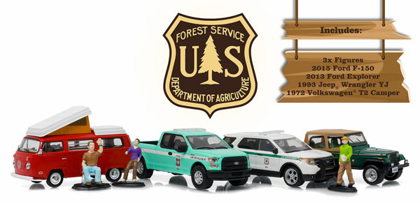 58031 - Greenlight Diecast US Forest Service Camping Cruisers Diorama Set