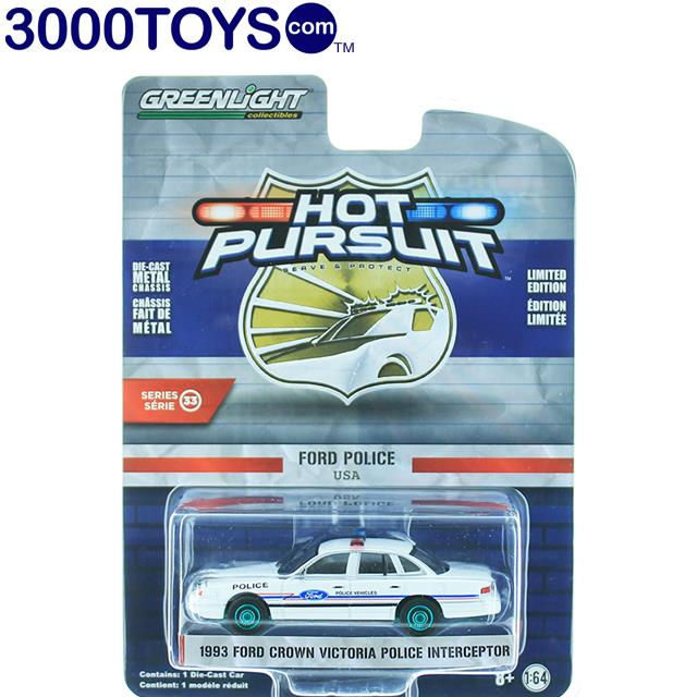 Greenlight 1993 FORD CROWN VICTORIA INTERCEPTOR USA POLICE 1:64 Hot Pursuit 33