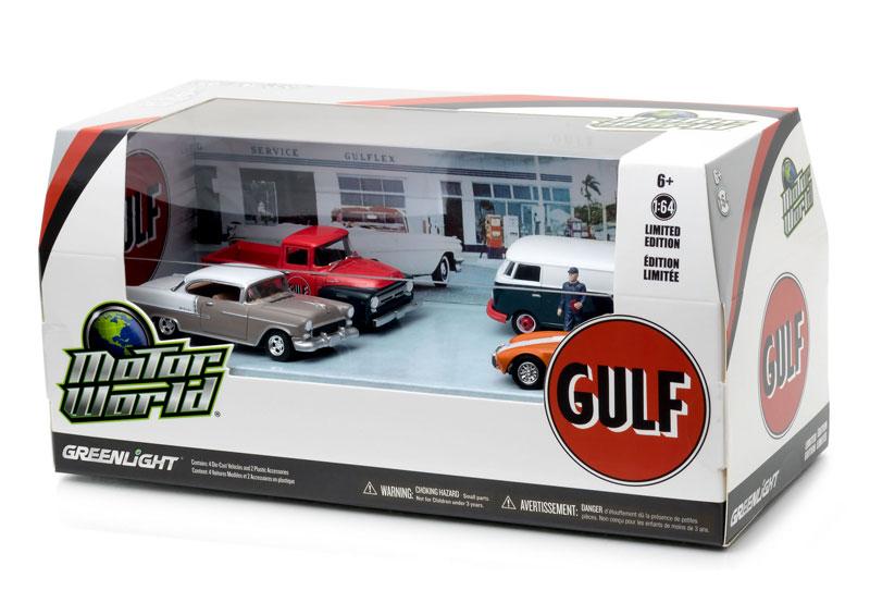 Greenlight Diecast Motor World Diorama Set Gulf Oil Vintage