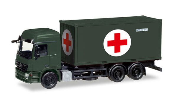 746243 - Herpa Model Red Cross Mercedes Benz Actros L Container