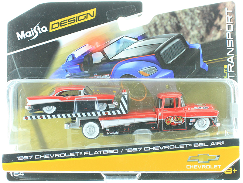 15055-AC - Maisto Diecast Oldies Towing 1957 Chevy Flatbed Tow Truck