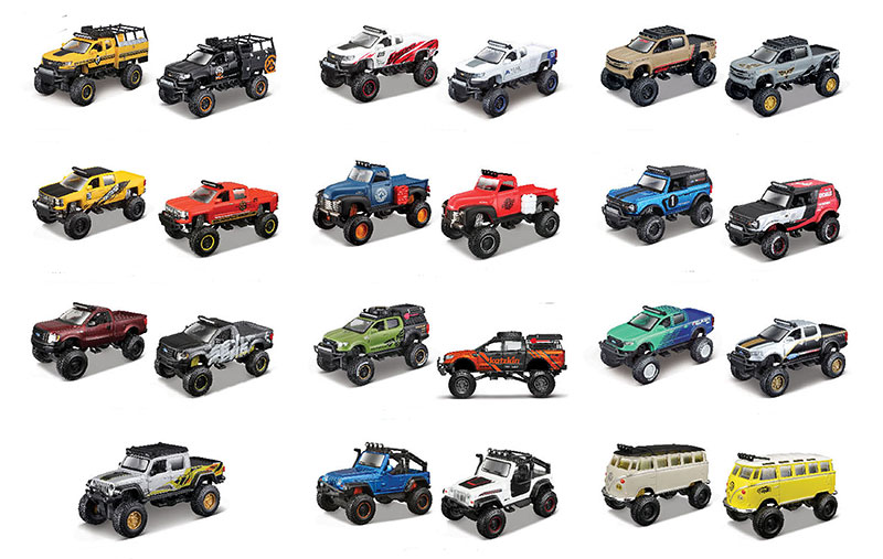 25205-CASE - Maisto Diecast 4X4 Rebel Off Road 12 Piece CASE