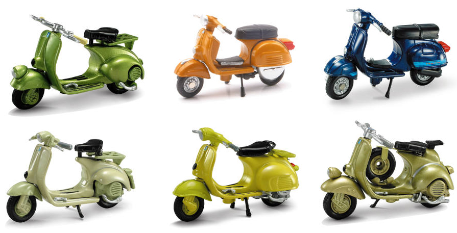 06047-SET-F - New-Ray Toys Vespa 6 Piece Scale Model SET