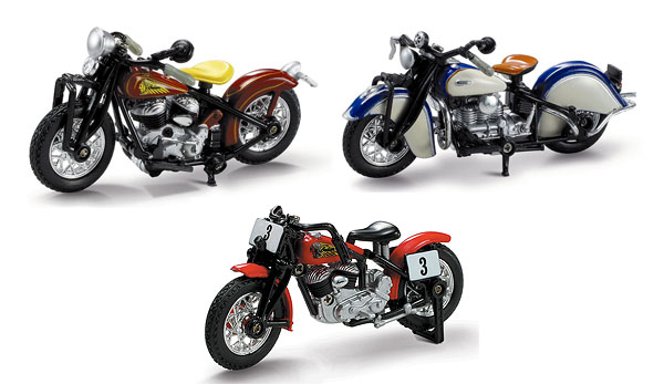 06067-SETJ - New-Ray Toys Lil Indian Historical Bikes 3 Piece Set
