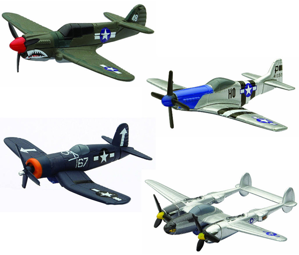 06687-SET-A - New-Ray Toys WWII Fighter Plane 4 piece SET