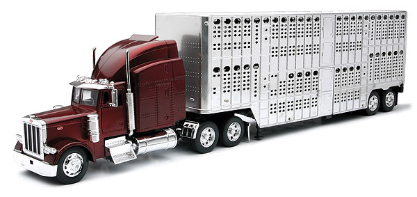 12073 - New-Ray Toys Peterbilt with Pot Belly Livestock Trailer Burgundy