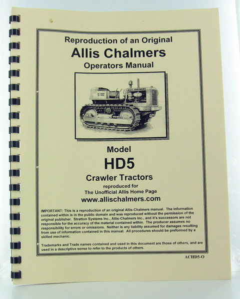 ACHD5-O - Strattons Allis Chalmers Model Hd 5 Crawler Operators