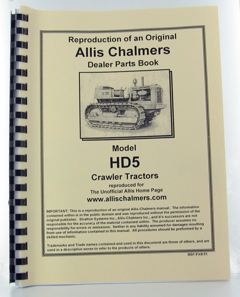 ACHD5-P - Strattons Allis Chalmers Model Hd 5 Crawler Parts