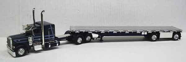 "Tonkin Replica 1//53 Peterbilt 389 36/"" Slper Emerald Grn//White 3 Axle Jeep Lowboy"