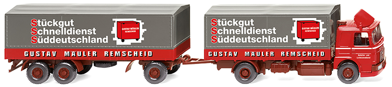 047301 - Wiking Model Spedition Gustav MAN Flatbed Road Train