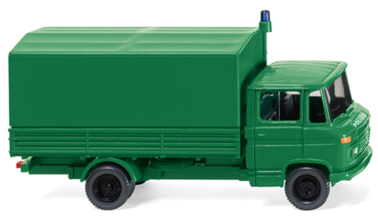 086442 - Wiking Model Police Mercedes Benz L 408 Flatbed Truck